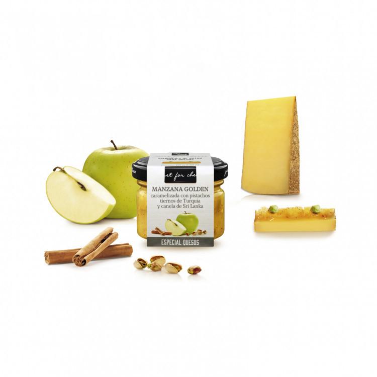 Salsa dulce de manzana golden con pistachos y canela